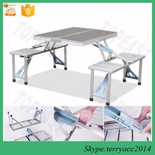 Gift Outdoor Aluminum Portable Folding Camp Suitcase Foldable Picnic Table w/ 4 Seats