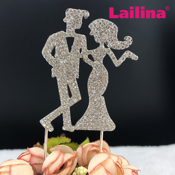 Crystal couple wedding cake topper rhinestone couple cake topper for wedding