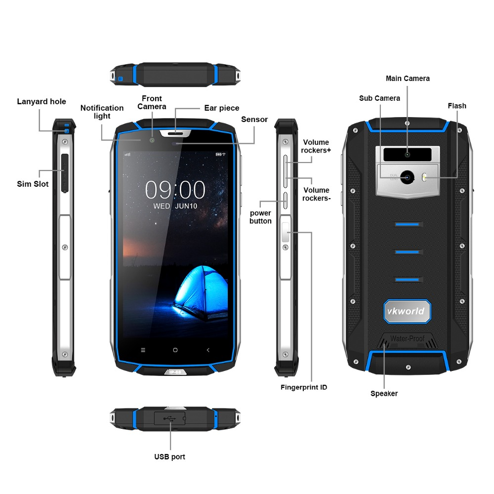 Cheapest Factory 5.2inch 4G LTE IP68 Octa-core HD 5600mAh Battery Fingerprint GPS Rugged Smartphone, Waterproof Mobile Phone