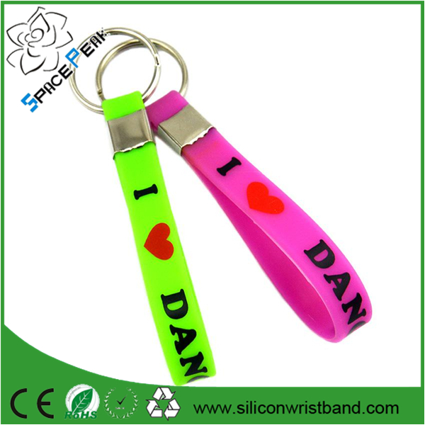 Custom I Love Dance Silicone Wristband Keychain, Perfect to Use in Any Benefits Gift for Dancer