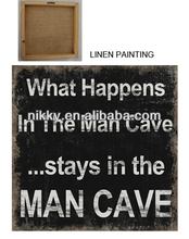 funny black linen wood craft, custom art craft linen pictures with humorous words