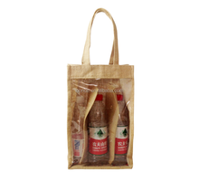 Eco friendly clear window jute wine bag for retailing