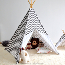 Cotton 4 side Indoor kids Teepee tent black stripe