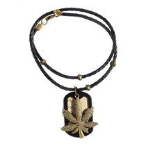 2016 New Fashion Trend Factory Price Bronze Weed Leaf Dog Tag Military With Leather Rope Chain