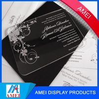 2017 custom clear acrylic wedding invitation card for wedding supplier