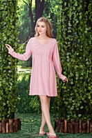 Women's Casual Dressing Gown Long Sleeve Cotton Strip Nightdress Sexy Lingerie