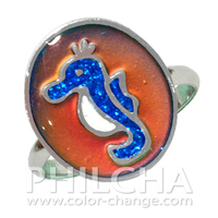 Stylish Animal Ring Multi Color Change Seahorse Mood Ring With Glitter