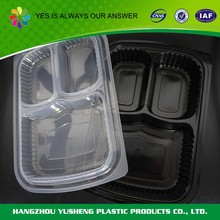 Disposable 3-compartment microwave safe food container,plastic container manufacturer