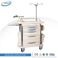 MINA-ET001 Cheap hospital ABS plastic emergency crash cart price, mobile medical resuscitation trolley manufacturer