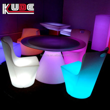 Illuminous battery rechargeable plastic led lighted remote control dinning table set