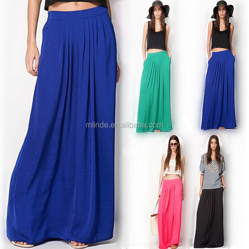 Summer Skirts Womens High Waist Pleated Long Solid Chiffon Casual Beach Maxi Skirts for Elegant Lady Girls Western Style