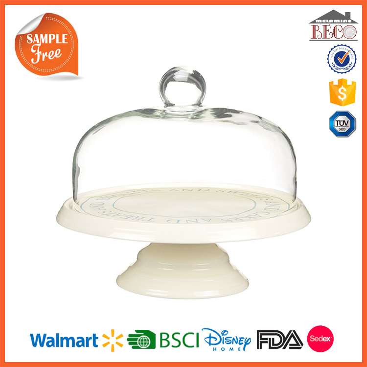 Food Grade FDA Tested Factory Plastic Melamine Mini Cake Stand With Dome