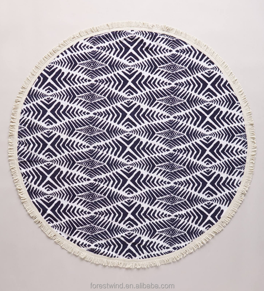 100% Cotton Wholesaler Printed Round Beach Towel