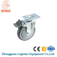 PU/PP swivel cart/ trolley wheel with brake, plated caster wheel