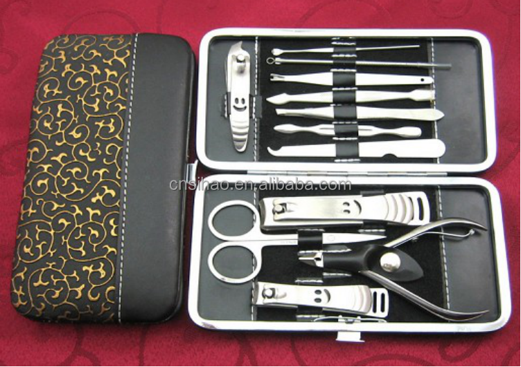 12 in 1 manicure set/ nail tools nail clipper scissor and curette