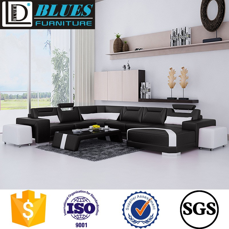 italy style modern wood leg leather sofa Living room leather sofa