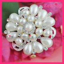 2014 hot sale flower pearl wedding gorgeous brooch for bouquet designs