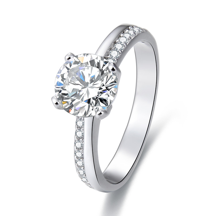 POLIVA High Quality Attention Getting Rhodium Plated Diamond Silver Engagement <strong>Ring</strong>