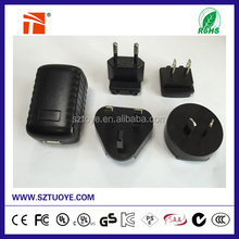 Interchangeable 5v 3a universal wall mount power adapter for router 15w with UL FCC CB CE CCC ERP V ROHS certifiaction
