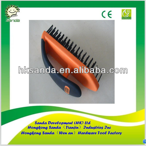 rubber handle round stainless steel wire brush