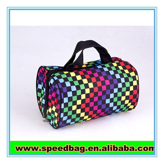 Colorful satin material travel tote bag hand carry bag