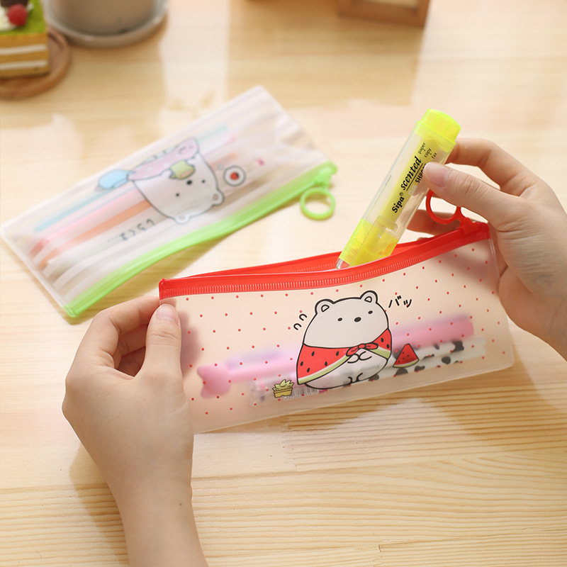 PVC student stationery bags cartoon pencil bag with ring zipper