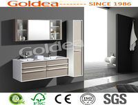 YBC84-120 durable melamine bathroom cabinet with Metal wall drawer, solide wood cabinet handle; removable mirror cabinet