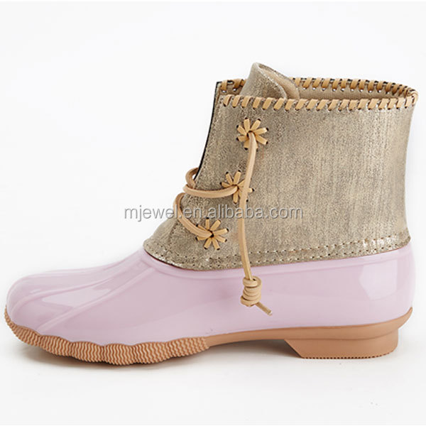 wholesale monogram fashion fur shoes winter rubber ladies ankle snow duck boots for women