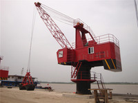 360degree rotation single jib portal fixed crane in port GQ type for loading and unloading cargos in river seaport