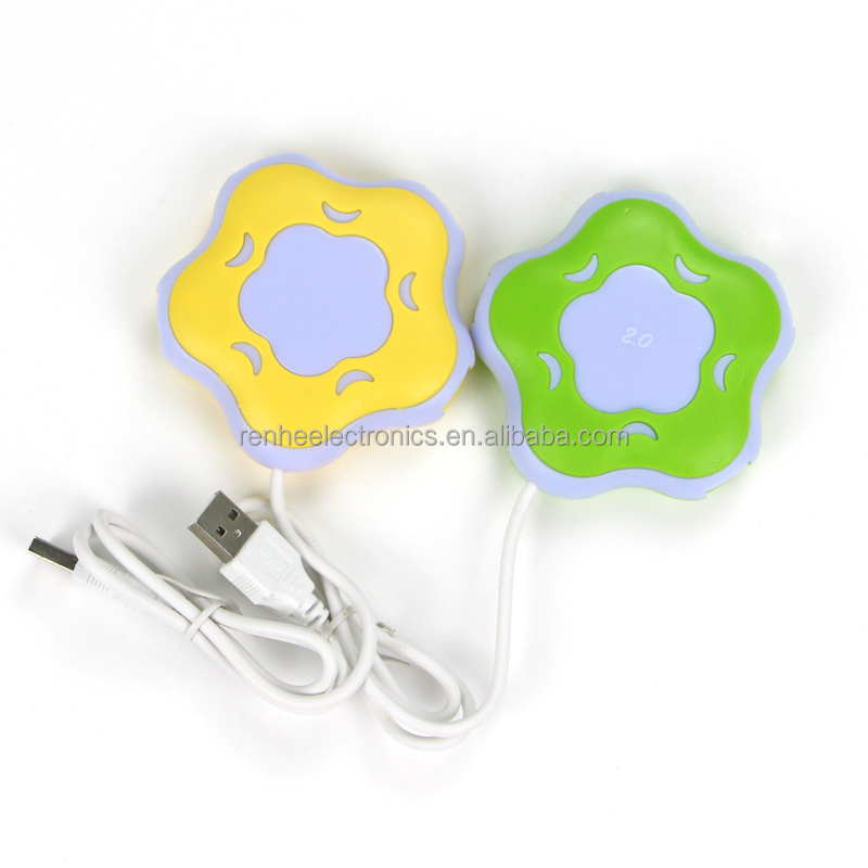Cheap funny cute 4 ports usb hub in flower design for promotions