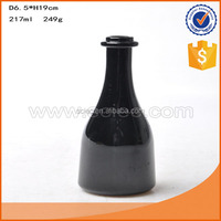 200ml High grade machine made black vodka antique Chinese style liquor glass bottle.