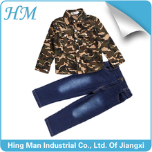 2016 new autumn camouflage shirt and denim pants boy's set wholesale.