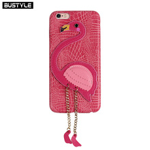 Hot Selling Flamingo Design 3D Crocodile Leather Cell Phone Cover for Apple iPhone 8 7 6s Case