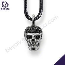 Antique black stone skull silver cheap fake pearl necklaces