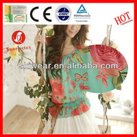 100% Polyester Flower Design Printed Chiffon Fabric for Women