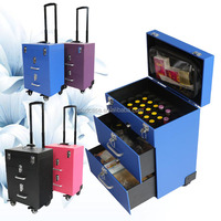 New design beauty trolley rolling case with drawer and cosmetic bags