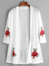 Embroidery rose patches sheer women kimono style tops with back belt detail latest design