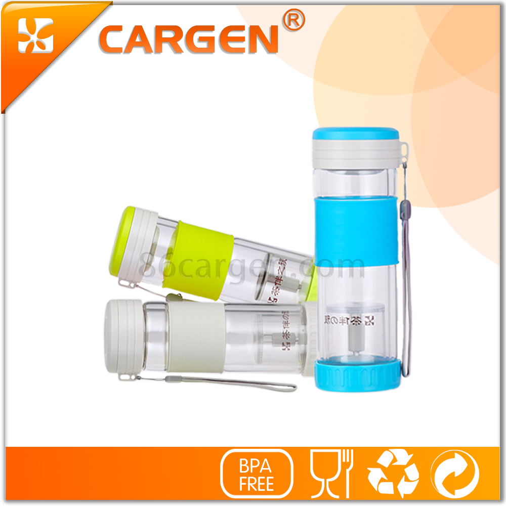 OEM 280ml wide mouth glass tea infuser bottle with silicone sleeve
