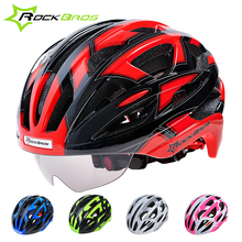 2017 HOT!RockBros Bicycle Cycling Helmet EPS+PC Material Ultralight Mountain Bike Helmet 32 Air Vents With glasses,Goggle Helmet