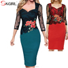 Jersey half sleeve embroidered floral lace knee length pencil party bodycon vestidos elegant office women dresses
