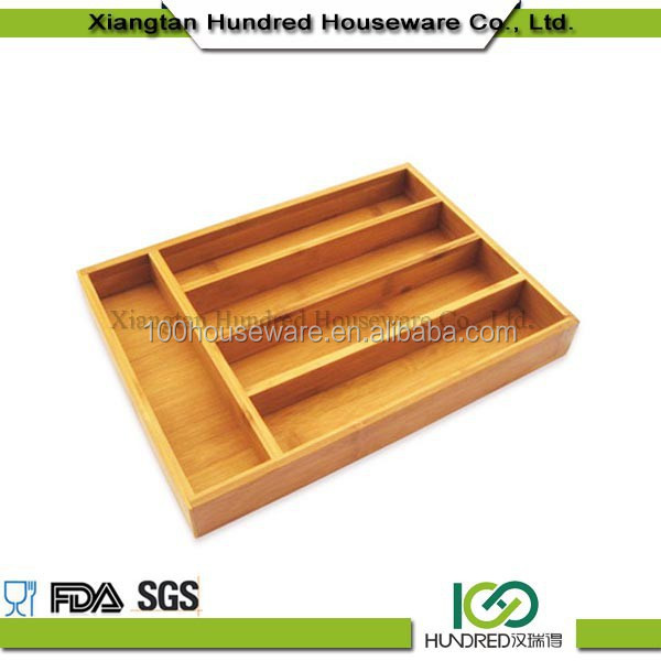 Cheap price 5 Divider Kitchen Drawer Bamboo Cutlery Tray