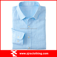 Mens Linen Cotton Casual Shirt Long Sleeve Shirt with Pocket