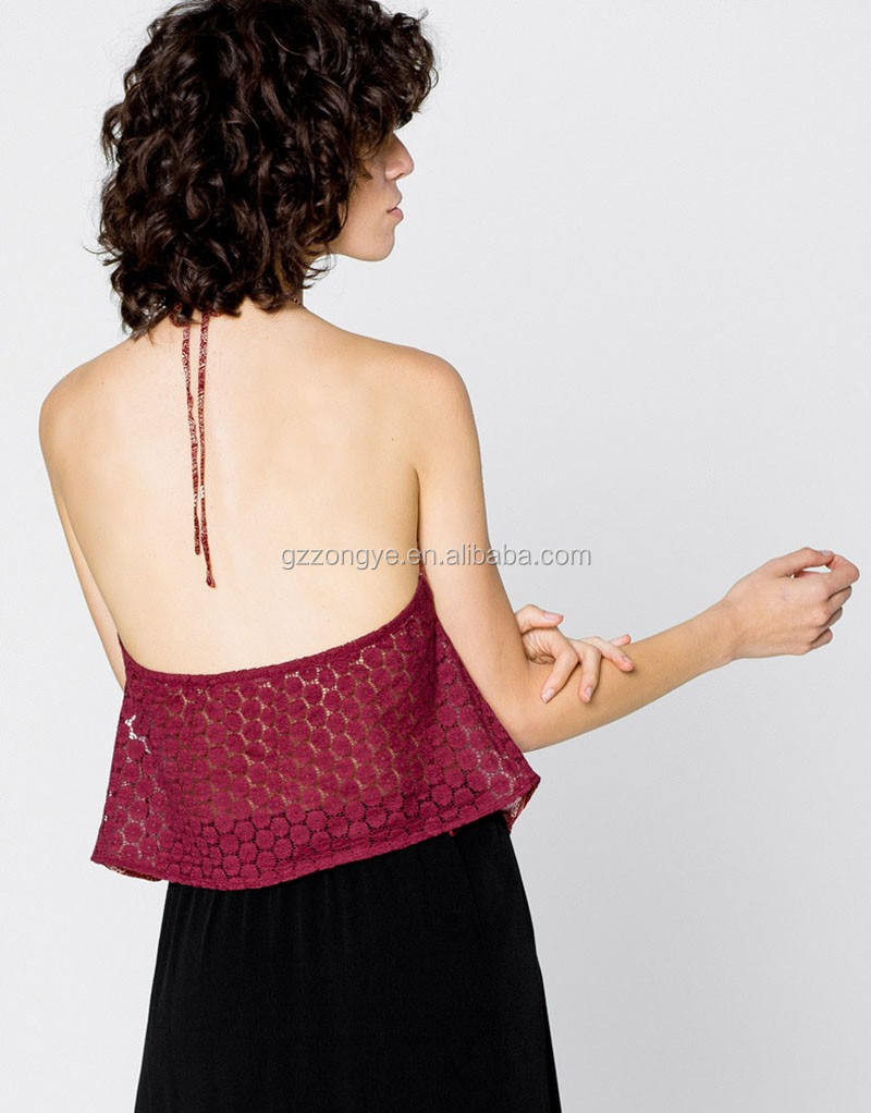 Sexy beach wear ladies vest, lace back halter women's top