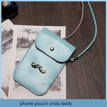 2016 trending products plain PU leather cellphone bag cross body pouch case for samsung galaxy j2