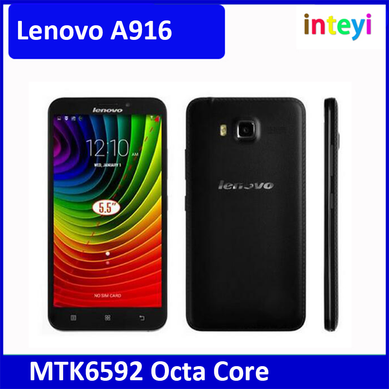 Hot Sell Lenovo A916 4G LTE Mobile Phone MTK6592 Octa Core 1GB/ 8GB 5.5 inch 1280x720 Android 4.4 Play Store Dual SIM