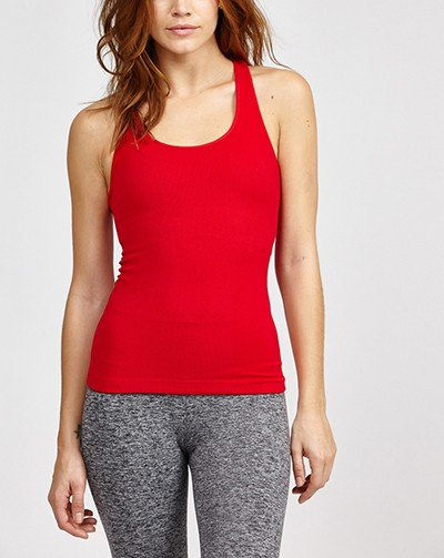 92% Nylon 8% Spandex Moisture-Wicking Red Long Racerback Seamless Tank Tops