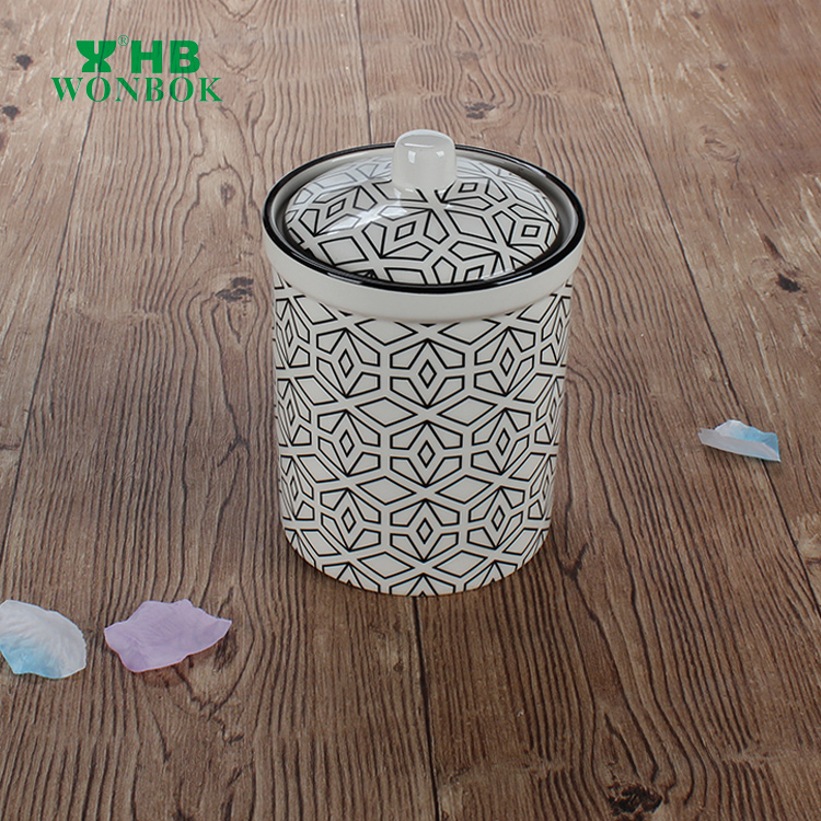 BSCI new style printing food storage porcelain canister with lid