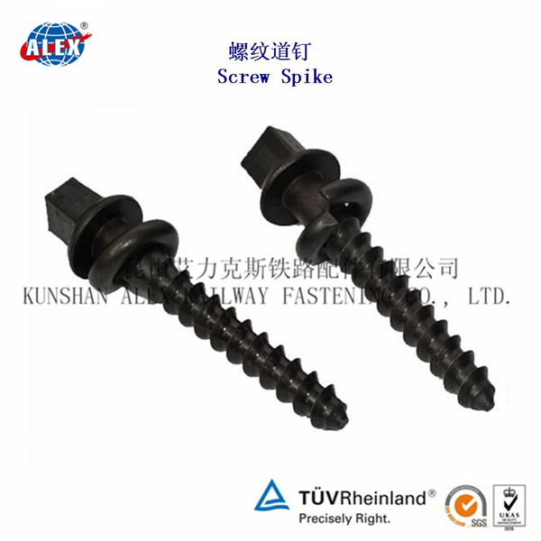 Rail Fitting Sleeper Screw Spike,Screw Spike for Railroad Track Accessories, Railroad Screw Spike
