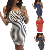 Fashion Women Striped Mini Dress Sexy