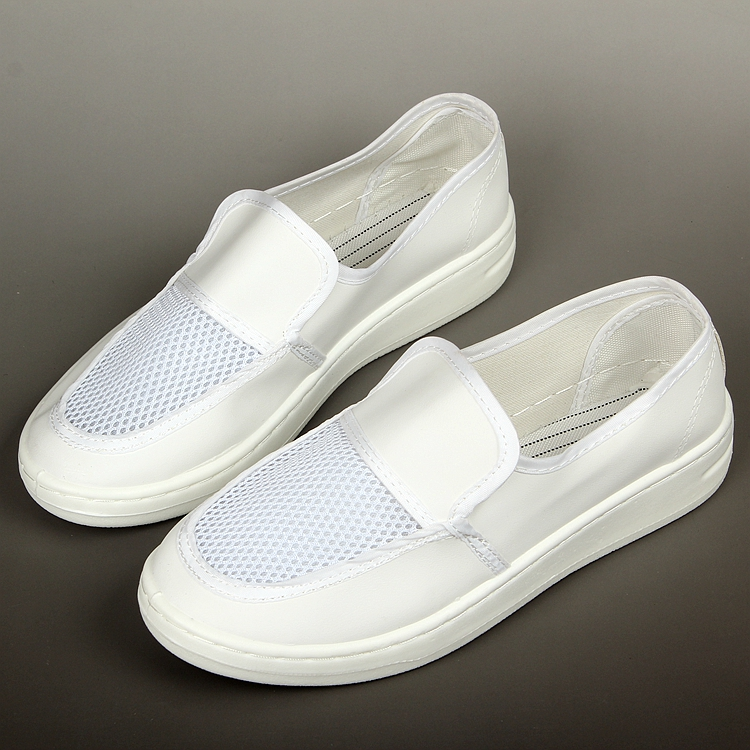 Factory Workers Anti Slip Ecofriendly PU Leather Cleanroom White ESD Shoes